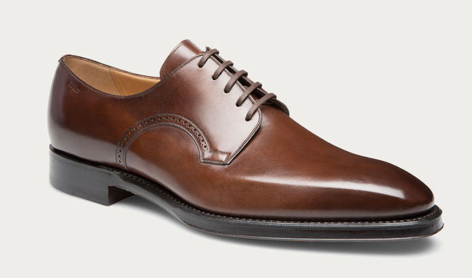 Men's leather derby in Mid Brown
